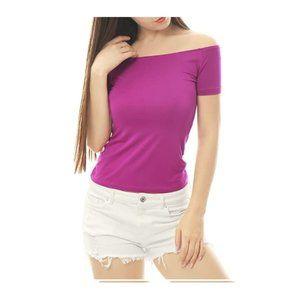 Violet Slim Fit Off The Shoulder Cropped T